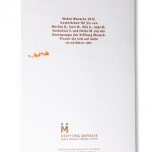 MD Coming Home: 2012, Weihnachtskarte Stiftung Mensch - Rückseite; Fotograf: Stefan Carstensen